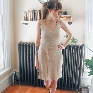 Vintage Sleeveless beige ribbed Tank Dress